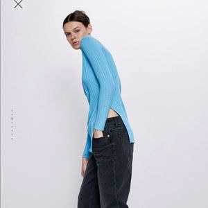 Zara Blue Ribbed Top with openings